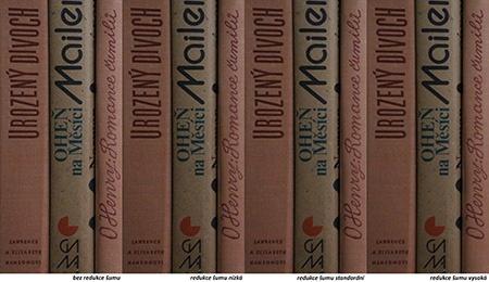 redukce šumu; citlivost 25 600 ISO, knihy