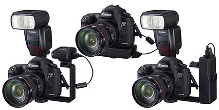 Canon EOS 5D Mark III s jednotkou GPS GP-E2, bezdrátovým vysílačem ST-E3RT a bleskem Speedlite 600EX